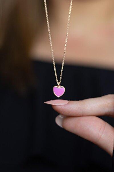 Kalp Mineli Gümüş Kolye - Rose