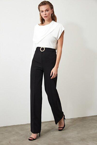 Siyah Taş Detaylı Geniş Paça Pantolon TWOAW20PL0534