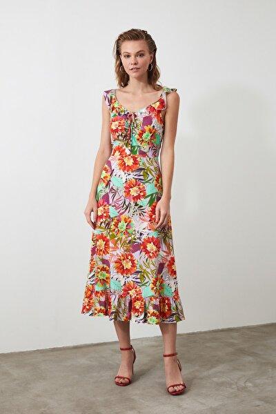 Çok Renkli Çiçek Desenli Elbise TWOSS20EL2866