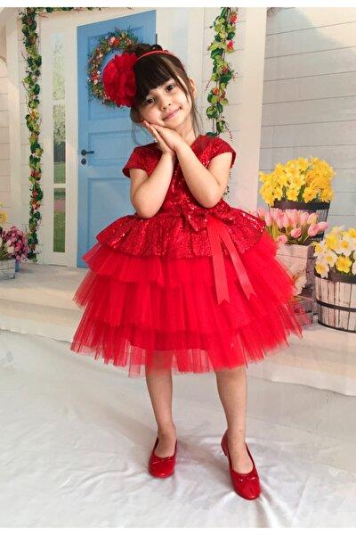 Kız Çocuk Kırmızı Tüllü Abiye Elbise