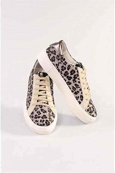 Kadın Gri Leopar Ayakkabı