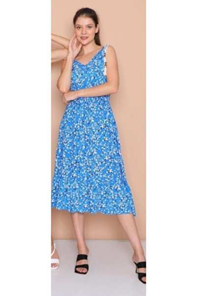 Kadın Mavi Kolsuz Pamuk Dokuma Elbise