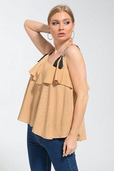 Kadın Bej Arlee Alaçatı Stili Askılı Bluz