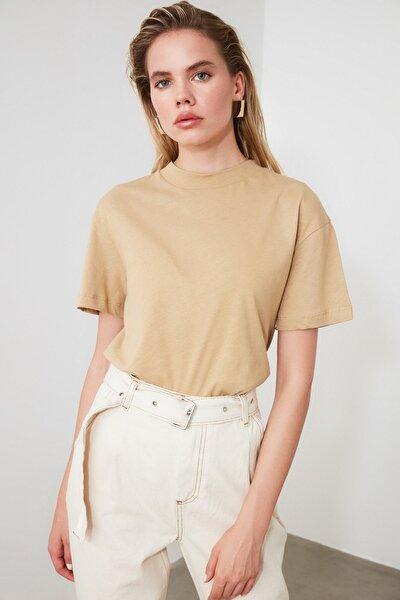Camel ve Kiremit 2'li Paket Dik Yaka Basic Örme T-Shirt TWOAW21TS0121