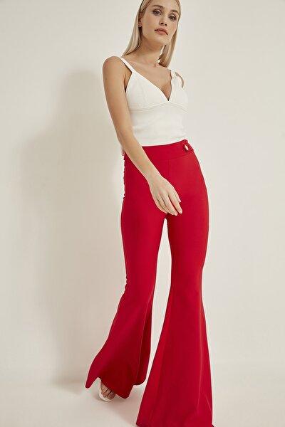 Kadın Kırmızı İspanyol Paça Pantolon