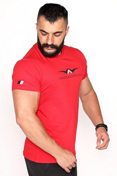 Bisiklet Yaka Süprem Kumaş Fosfor Baskı Detaylı Kırmızı T-shirt