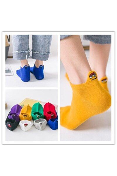 8'li Unisex Renkli Emojili Nakışlı Işlemeli Çorap