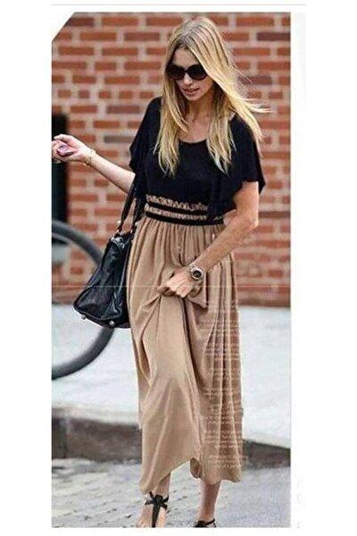 Belden Lastik Detaylı Tek Parça Özel Tasarım Kahve Siyah Maxi Elbise Brown Maxi Dress