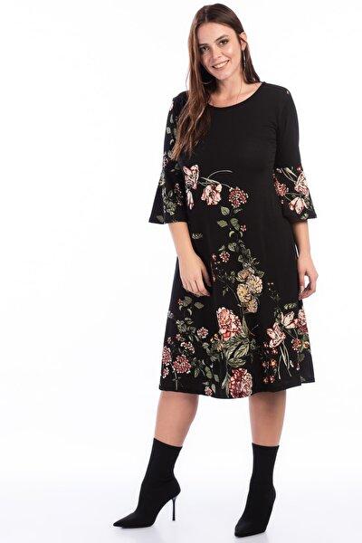 Kadın Siyah Çiçek Desenli Krep Elbise Btx003.