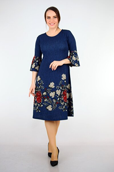 Kadın Lacivert  Çiçek Desenli Krep Elbise BTX112.