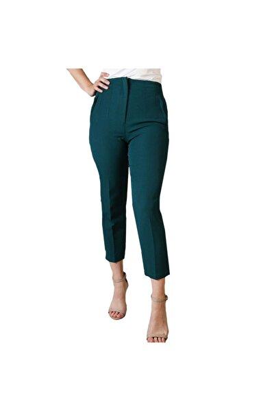 Thepantolon Biye Detaylı Koyu Yeşil Bayan Havuç Pantolon
