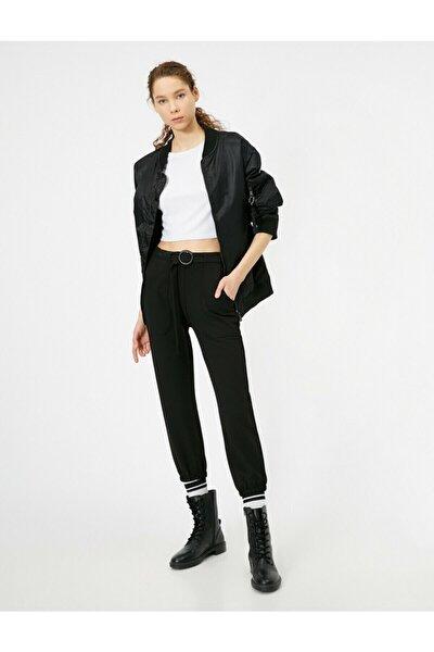 Kadın Siyah Kemer Detayli Pantolon