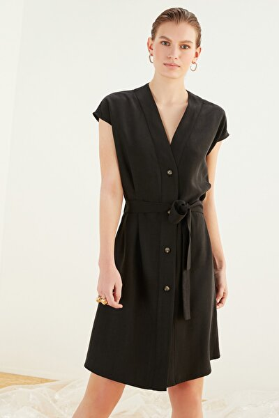 Kadın Siyah V Yaka Lyocell Mini Elbise 367523