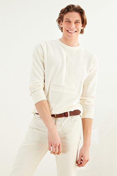 Erkek Beyaz Bisiket Yaka Pamuk Sweatshirt 372283