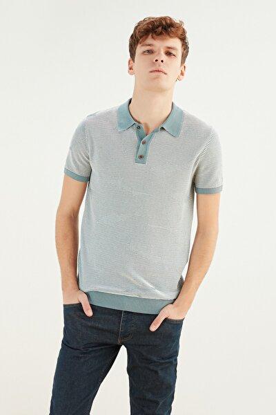Erkek Gri Mavi Polo Yaka Pamuk T-Shirt 365768
