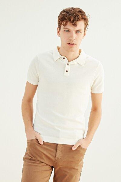 Erkek Ekru Polo Yaka Pamuk T-Shirt 365771