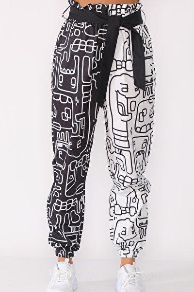 Kuşaklı Totem Baskılı Siyah Beyaz Pantolon