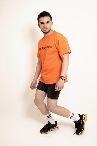 Erkek Neon Turuncu Oversize Baskılı Günlük Bisiklet Yaka Kısa Kol Örme T-Shirt