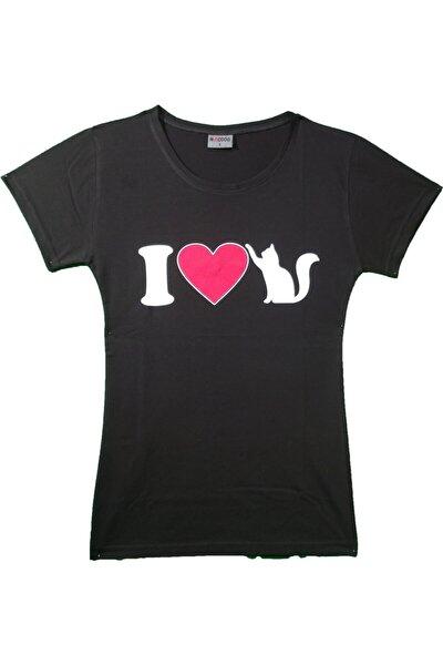 Kadın Siyah I Love Cats Baskılı Tşört