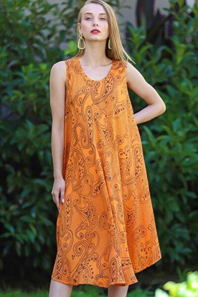 Kadın Turuncu Bohem Şal Desen Baskılı Salaş Elbise M10160000EL96407