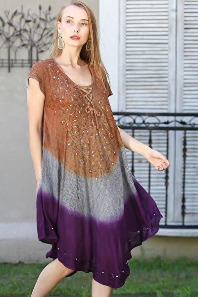Kadın Kahve-Mürdüm Bohem Batik Desenli Nakış Detaylı Elbise M10160000EL96418