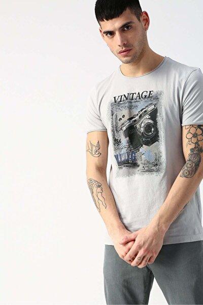 Erkek Mavi Vıntage 0 Yaka Kısa Kol Tshirt 04-m00248