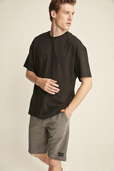 JETT Siyah Erkek Basic Bol Kesim T-shirt
