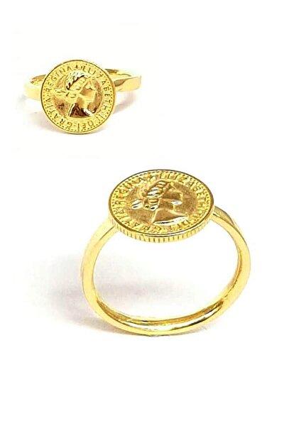 Gümüş Üzerine Altın Kaplamalı Antik Para Yüzük