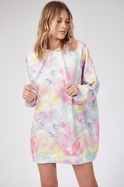Kadın Uçuk Pembe Desenli Oversize Sweat Elbise  DD00511