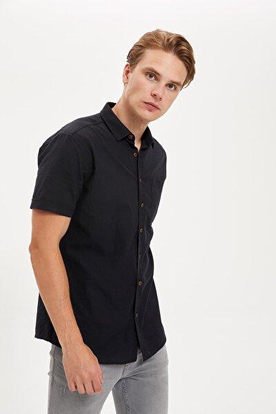 Erkek Siyah Kısa Kollu Slim Fit Basic Pamuklu Gömlek R1706AZ20SP