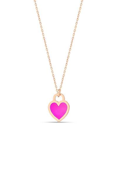 Kadın Pembe Neon Gümüş Kalp Kolye
