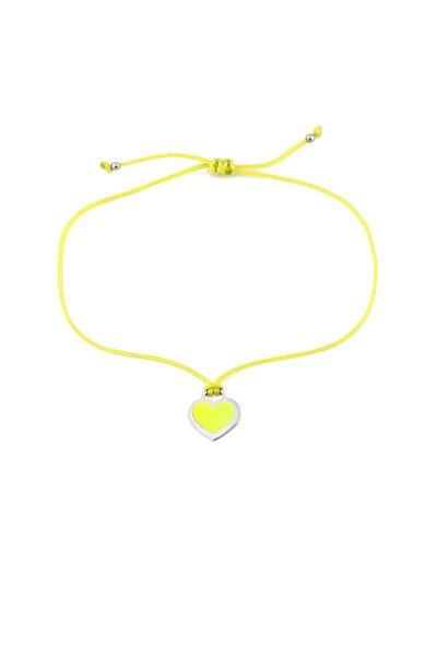 Kadın Sarı Neon Kalp Ipli Gümüş Halhal