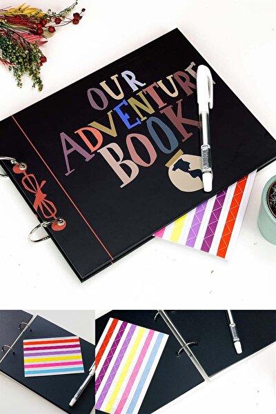 Our Adventure Book Tasarımlı Fotoğraf Albümü Anı Defteri; Beyaz Kalem Ve Yapıştırıcı Hediyeli