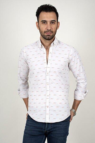 Erkek Beyaz Mavi Noktalı Regular Fit Gömlek 2003159