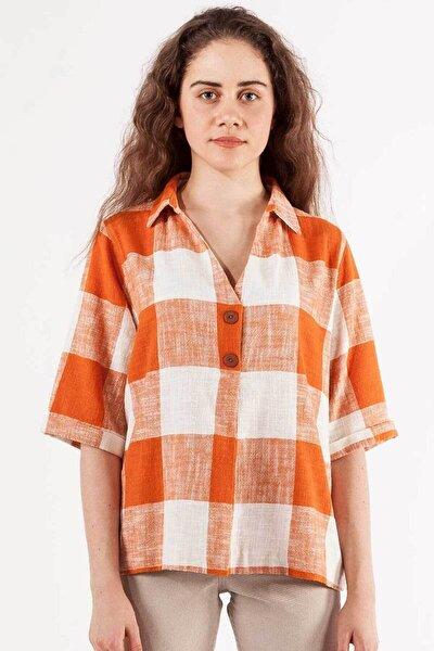 Kadın Ekru Turuncu V Yaka Gömlek