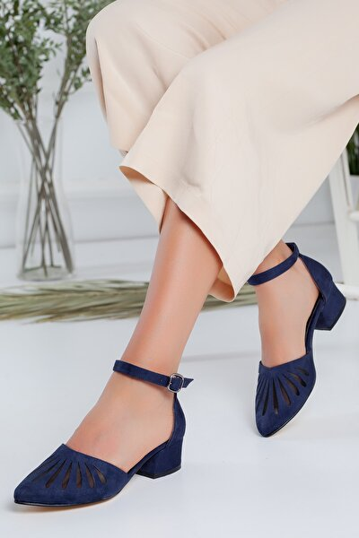 Chica Lacivert Süet Topuklu Ayakkabı