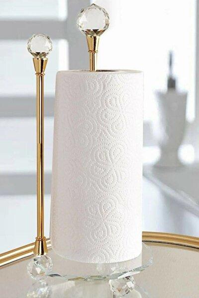 Lüx Kristal Topuz Ve Ayaklı Cam Metal Dik Havluluk Gold