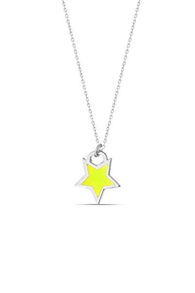 Sarı Neon Gümüş Yıldız Kolye