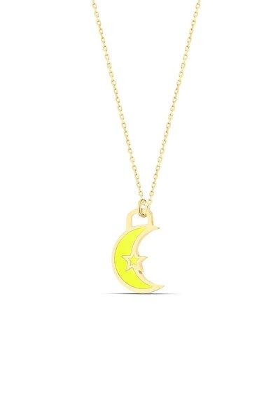 Sarı Neon Ay Dede Gümüş Kolye