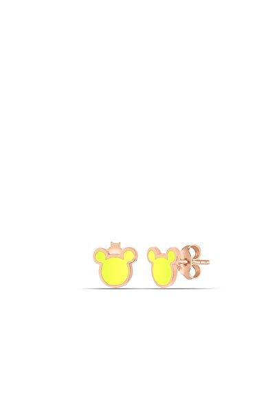 Sarı Neon Micky Gümüş Nokta Küpe
