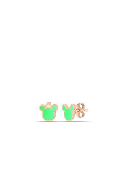 Yeşil Neon Micky Gümüş Nokta Küpe