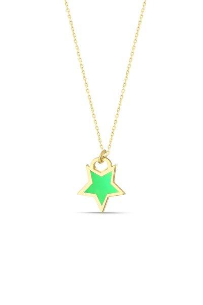 Yeşil Neon Gümüş Yıldız Kolye