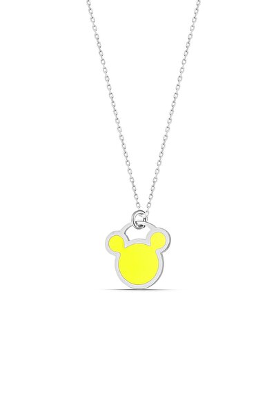 Sarı Neon Gümüş Micky Kolye