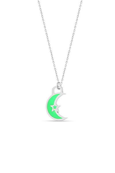 Yeşil Neon Ay Dede Gümüş Kolye