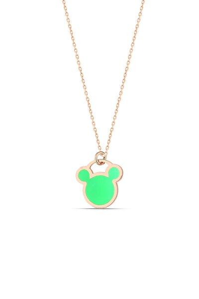 Yeşil Neon Gümüş Micky Kolye