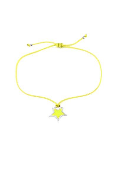 Sarı Neon Yıldız Ipli Gümüş Halhal
