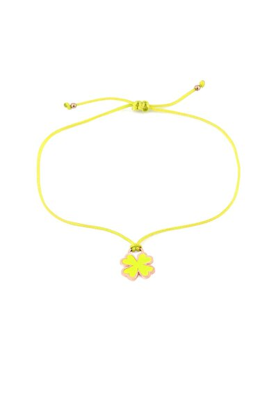 Sarı Neon Yonca Ipli Gümüş Halhal