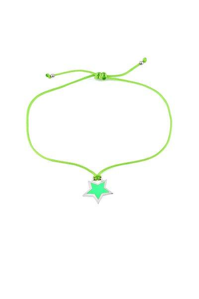 Yeşil Neon Yıldız Ipli Gümüş Halhal