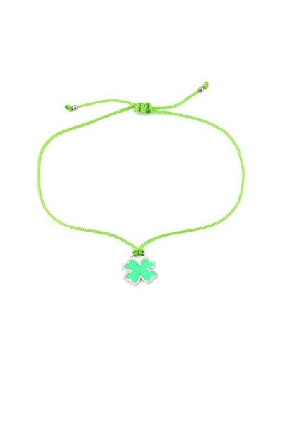 Yeşil Neon Yonca Ipli Gümüş Halhal