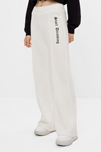 Kadın Krem Ispanyol Paça Penye Pantolon